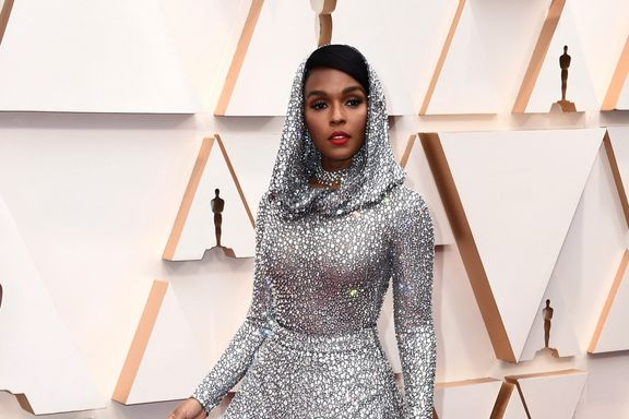 Janelle Monae Wore A Sparkling Hood On The 2020 Oscars Red Carpet