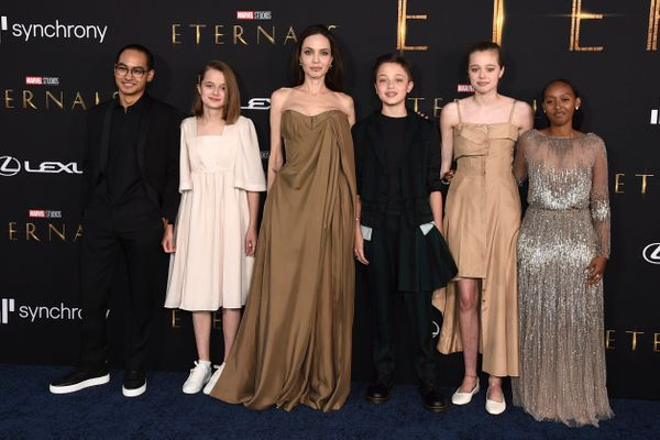 Angelina Jolie Makes Rare Red Carpet Appearance With Children At Eternals Premiere
